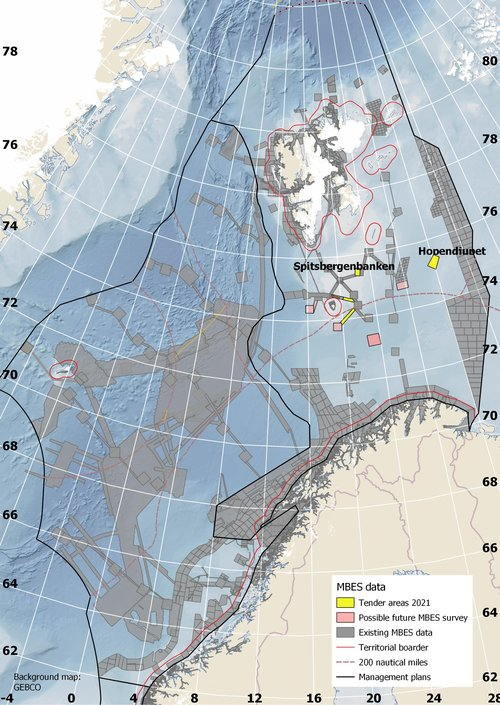 Map of the Barents Sea, showing which transects that are planned to be bathymetric mapped in 2021. Source: Norwegian Mapping Authority/Mareano